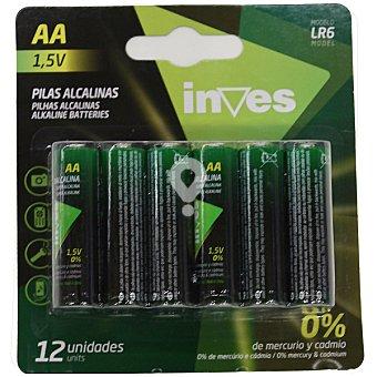 Pila alcalina AA(LR6) 1,5 voltios 0% mercurio y cadmio blister 12 unidades