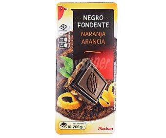 Auchan Chocolate negro con cortezas de naranja confitadas 200 gramos