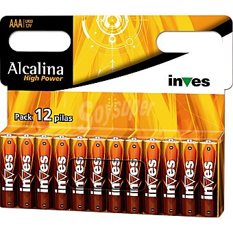 INVES HIGH POWER Pila super alcalina AAA(LR03) 1,5 voltios blister 12 unidades