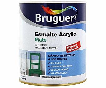 BRUGUER Esmalte decorativo acrílico, de color blanco permanente y acabado mate 0,75 litros