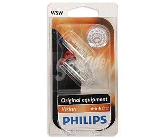 Philips Bombillas convencionales para automóvil, modelo W5W Visión, potencia: 5W 2 Unidades