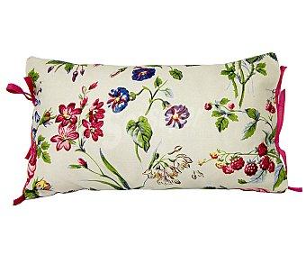 Auchan Cojín 100% algodón color rosa y beige con lazos, estampado de amapolas, 30x50 centímetros 1 unidad