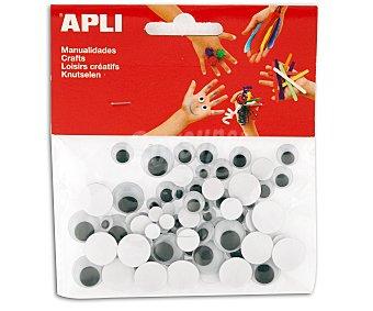 APLI Bolsa de 100 ojos móviles negros, adhesivos de goma eva y de diferentes tamaños 1 unidad
