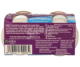 LETUR Yogur de leche de vaca natural ecológico sin lactosa 2 unidades de 125 g