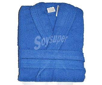 Productos Económicos Alcampo Albornoz de rizo algodón color azul liso unisex, talla extra grande 1 Unidad