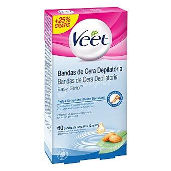 Veet Depilatorio Bandas de cera corporal para piel sensible 48 + 12 ud