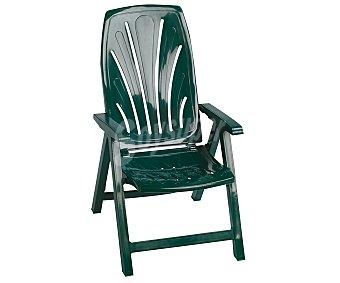 PLASMIR Tumbona plegable y con 5 posiciones diferentes para jardín. Fabricada en resina de color verde y con altura del asiento de 42 centímetros 1 unidad