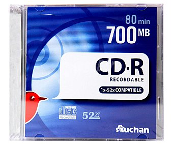 Auchan CD-R Pack de 10 cd's slim Pack de 10