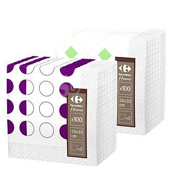Carrefour Servilleta doble capa de papel Decorada 100 unid blanco 1 envase de 100 unidades