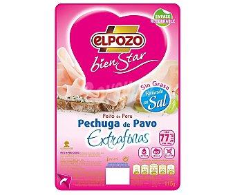 ElPozo Pechuga de pavo sin grasa con contenido reducido en sal y lonchas extrafinas, 115 gramos