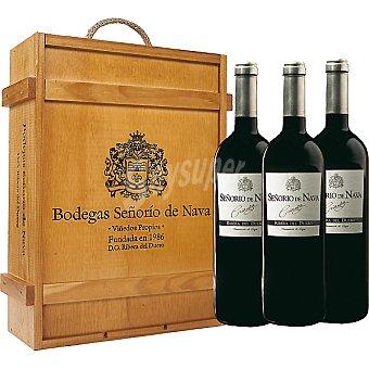 Señorio de Nava Vino tinto crianza estuche de madera 3 botella 75 cl