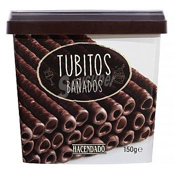 Hacendado Barquillo tubitos bañados chocolate negro para helado y postre Bote 150 g