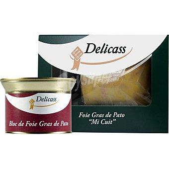 Delicass Foie gras de pato entero mi-cuit con regalo de bloc de foie gras de pato envase 35 g bolsa 200 g