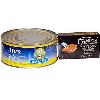Campos Mejillones en escabeche de las rías gallegas 8-12 piezas + atún en aceite vegetal Bachi 650 g neto escurrido