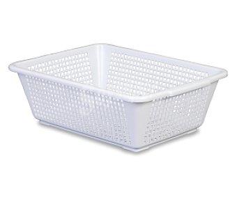 ARAVEN Cestita calada honda de plástico, color blanco, 40x29.8x13 centímetros 1 Unidad