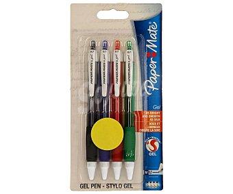 Paper Mate Lote de 4 bolígrafos retráctiles del tipo roller, punta media con grosor de escritura de 0.7 milímetros y tinta gel brillante azul, roja, negra y verde 1 unidad