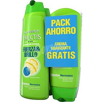 Fructis Garnier Champú fortificante Fuerza & Brillo pack 2 frasco 300 ml