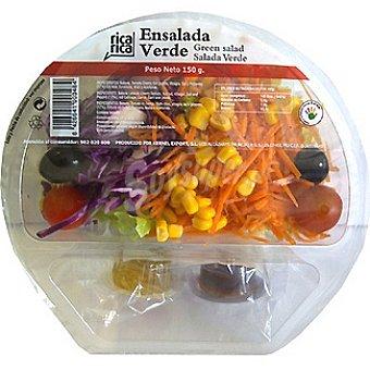 Rica rica Ensalada verde contiene batavia, cherry, col roja, zanahoria, maíz, aceitunas (aceite, vinagre, sal y pimienta) Tarrina 150 g