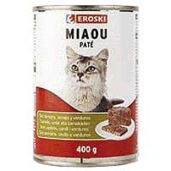Eroski Alimento de ternera-conejo-verdura Miaow Lata 400 g