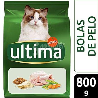 Ultima Affinity Hairball adult pienso para gatos adultos de 1-10 años rico en pavo, arroz y cereales para el control de las bolas de pelo 800 g
