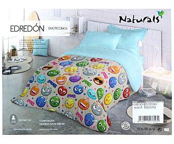 Naturals Edredón reversible estampado/liso para cama individual, 180x260cm., tejido microfibra 1 unidad