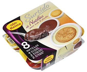 Reina Natillas surtidas de vainilla chocolate y caramelo 8 uds de 125 g