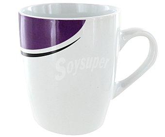 GSMD Mug o taza alta con asa modelo Eclipse, con capacidad de 350 mililitros y fabricada en porcelana de color blanco con diseño morado 1 Unidad