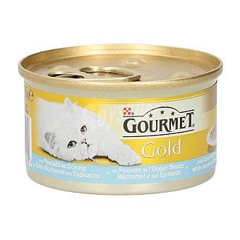 Gourmet Gold pescado del océano en salsa de bechamel con espinacas Tarro 85 gr