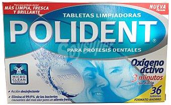 Polident Limpiador dentadura postiza Caja de 36 pastillas