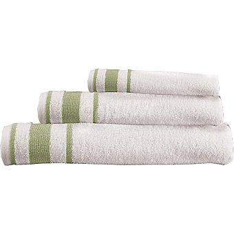 CASACTUAL Estrella juego de 3 toallas Jacquard en color blanco con cenefa en verde
