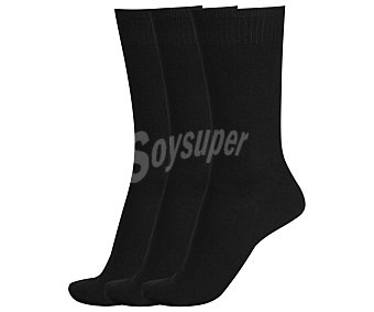 DON POSETS Pack de 3 pares de calcetines clásicos lisos con hilo antipresión, color negro, talla única Pack de 3