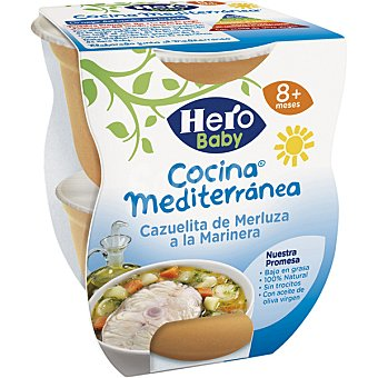Hero Baby Tarrito cazuelita de merluza a la marinera Cocina Mediterránea pack 2x200 g
