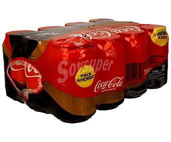 Coca-Cola Zero Refresco de cola zero cafeína sin calorías 12 latas de 33 cl