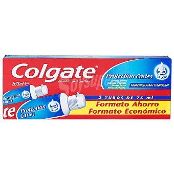 Colgate Pasta dentífrica Protection Caries con flúor y calcio Pack 2 tubo 75 ml