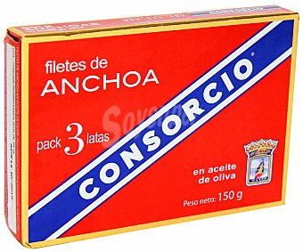 Consorcio Filetes de anchoa en aceite de oliva Pack de 3 unidades