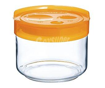 LUMINARC Tarro para conservación de alimentos fabricado en vidrio con tapa de plástico color naranja, cierre hermético, 0,5 litros de capacidad 0,5 L