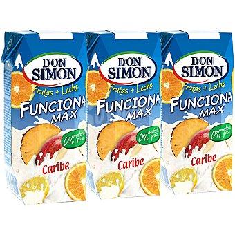 Don Simón Fruta + leche FUNCIONA MAX Caribe Pack 3 envase 33 cl