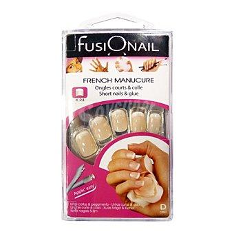 Fusionail Kit uñas cortas cuadradas rosa 24 unds 1 ud
