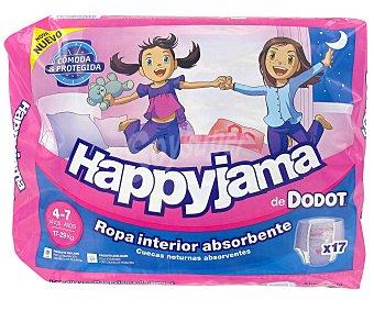 Happyjama Dodot Braguita de noche ropa interior absorbente niñas 4-7 años (17-29 kg) Paquete 17 unidades