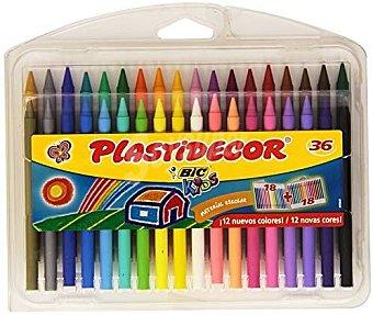 Bic Caja de 36 ceras plásticas Plastidecir de diferentes colores, que no manchan y se les puede sacar punta 36 unidades