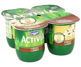 Activia Danone Yogur bifidus fibras con muesli Pack 4 x 125 g
