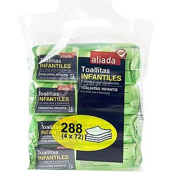 Aliada Toallitas infantiles con aloe vera y camomila Pack 4 envases 72 unidades