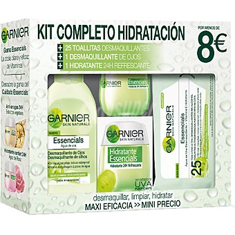 Garnier Pack hidratante con crema refrescante de día + desmaquillante de ojos + 25 toallitas desmaquillantes