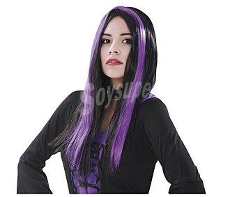 My other me Complemento para disfraz Halloween, Pelucha de bruja negra con mechones morados Peluca bruja
