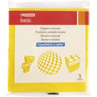 Eroski Basic Bayeta multiusos amarilla Pack 3 unid