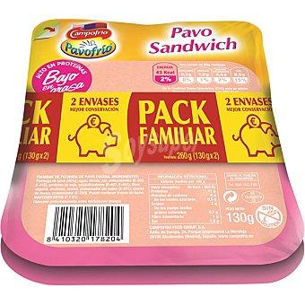 Pavofrío Campofrío Pavo sandwich lonchas bajas en grasa Pack 2 envase 130 g