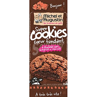 MICHEL ET AUGUS Super Cookies galletas rellenas de chocolate negro fundido Paquete de 180 g