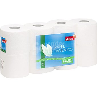 Aliada Papel higiénico blanco 4 capas muy resistente y suave Paquete 8 rollos