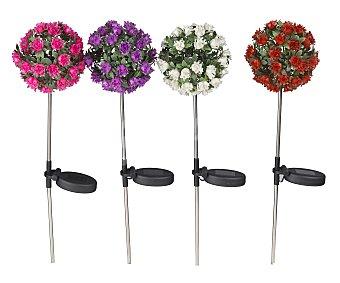 Outdoor ligths Figura de resina para jardín con la forma de una bonita flor. La figura incorpora una batería que se carga con el sol y luego hace que de las flores salga luz 1 unidad
