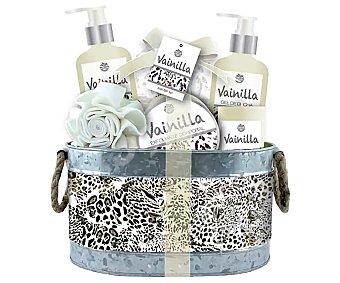 Becasan Cesta metálica con productos con aroma a vainilla para el cuidado y la higiene corporal becasan.